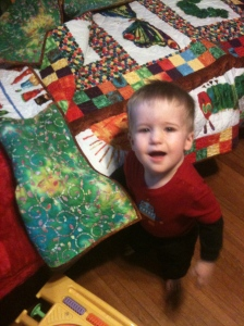 Ronan with The Very Hungry Caterpillar