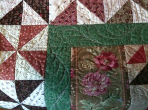 Feather quilting detail, Spumoni Spring