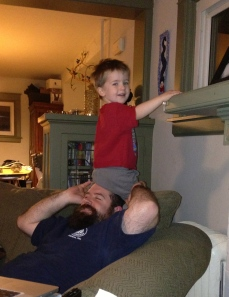 Ronan sitting on Dan